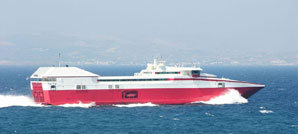 A 102 m high speed commercial vessel cruising in Greece.