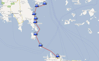 Map of the Yachting itinerary from Athens to Crete. Click on map to open in Google Maps.