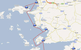 Map of the Yachting itinerary from the Greece � Turkey coast. Click on map to open in Google Maps.