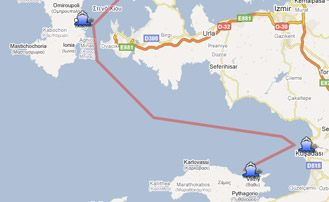 Map of the Yachting itinerary from the Northern Greece and Turkey coast. Click on map to open in Google Maps.