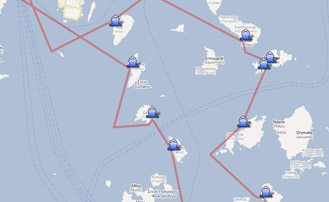 Map of the Yachting itinerary from the Cyclades islands tour 1. Click on map to open in Google Maps.
