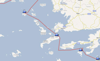 Map of the Yachting itinerary from the Dodecanese � Turkey coast. Click on map to open in Google Maps.
