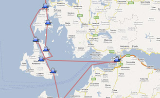 Map of the Yachting itinerary from the Ionian coast tour 1. Click on map to open in Google Maps.