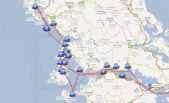 Map of the Yachting itinerary from the Ionian coast tour 2. Click on map to open in Google Maps.