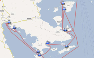 Map of the Yachting itinerary from the Saronic and Argolic gulf coast. Click on map to open in Google Maps.