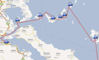 Map of the Yachting itinerary from the Sporades coast tour. Click on map to open in Google Maps.