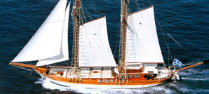 A 26m motor sailer sailing in the Greek islands.