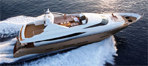 Peri Motor Yacht moving fast across the Aegean sea.